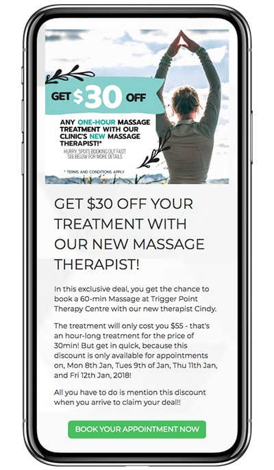 Trigger Point Therapy Centre's $30 Off An Appointment Landing Page