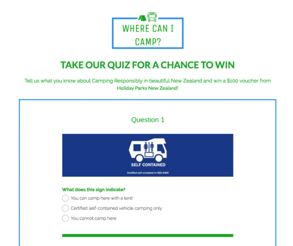 Contest Marketing Example - Campign Quiz