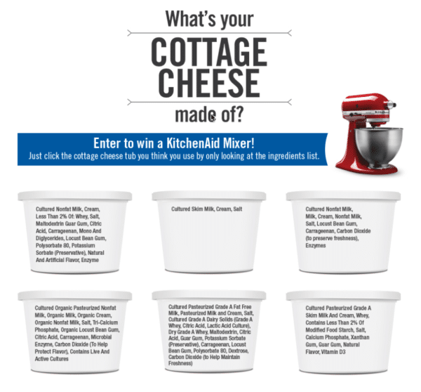 Contest Marketing Example - Cottage Cheese