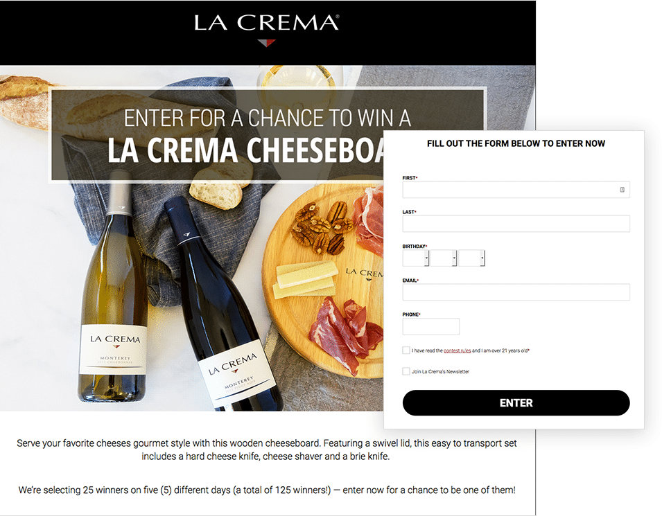 Multi-day giveaway by La Crema
