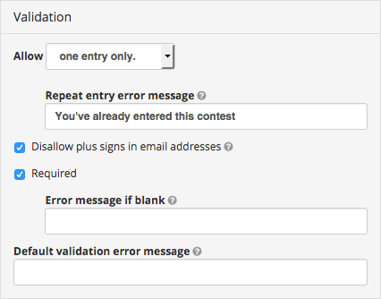Ban plus isgns in email addresses with ShortStack