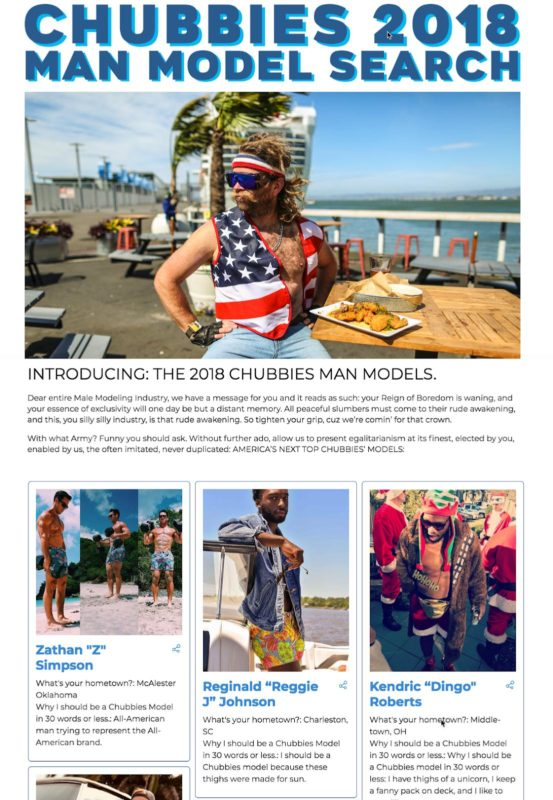 Chubbies Shorts Man Model Contest