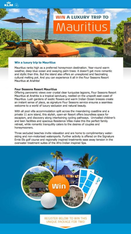 iFly KLM Mauritius Luxury Trip Contest