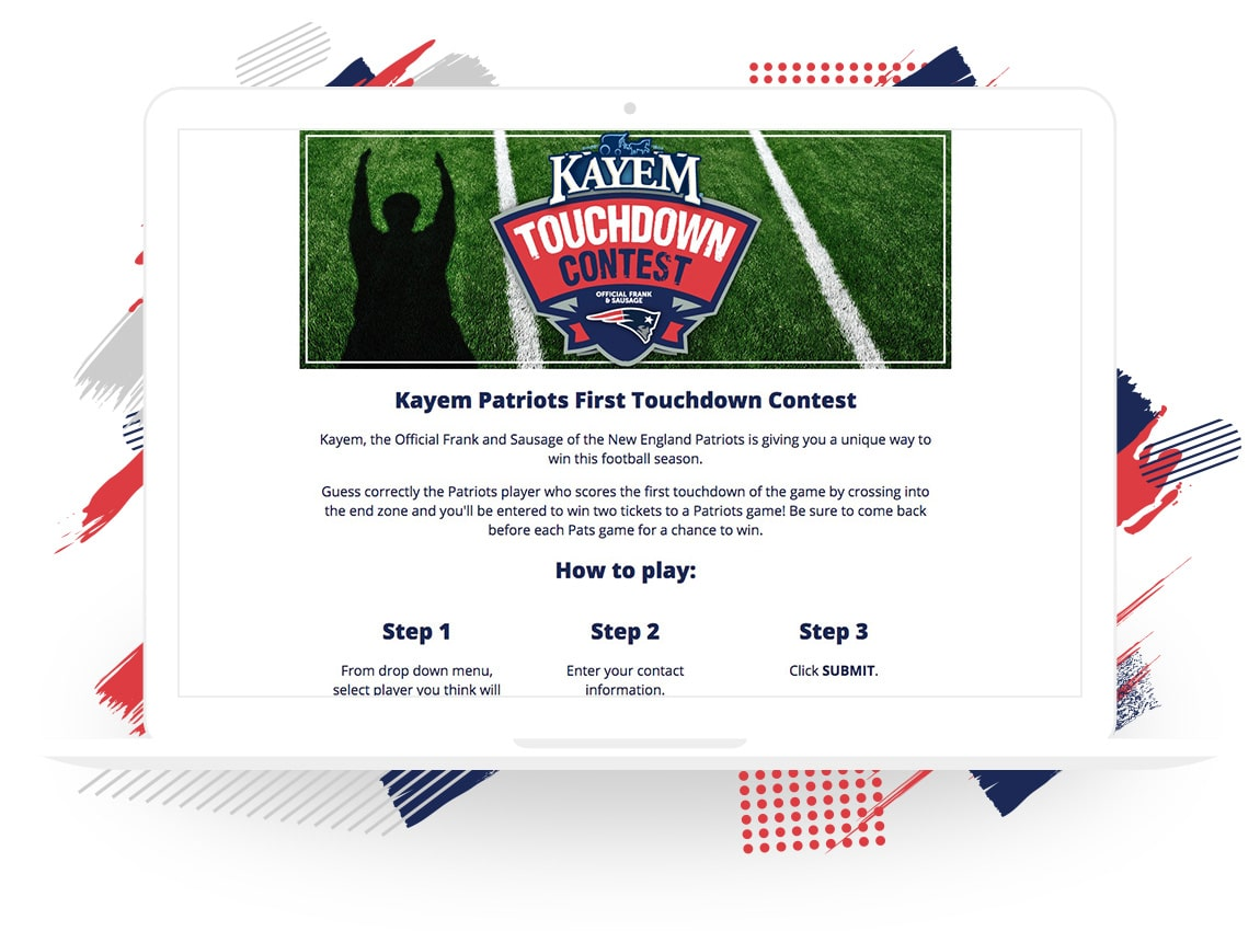 Kayem Patriots First Touchdown Contest