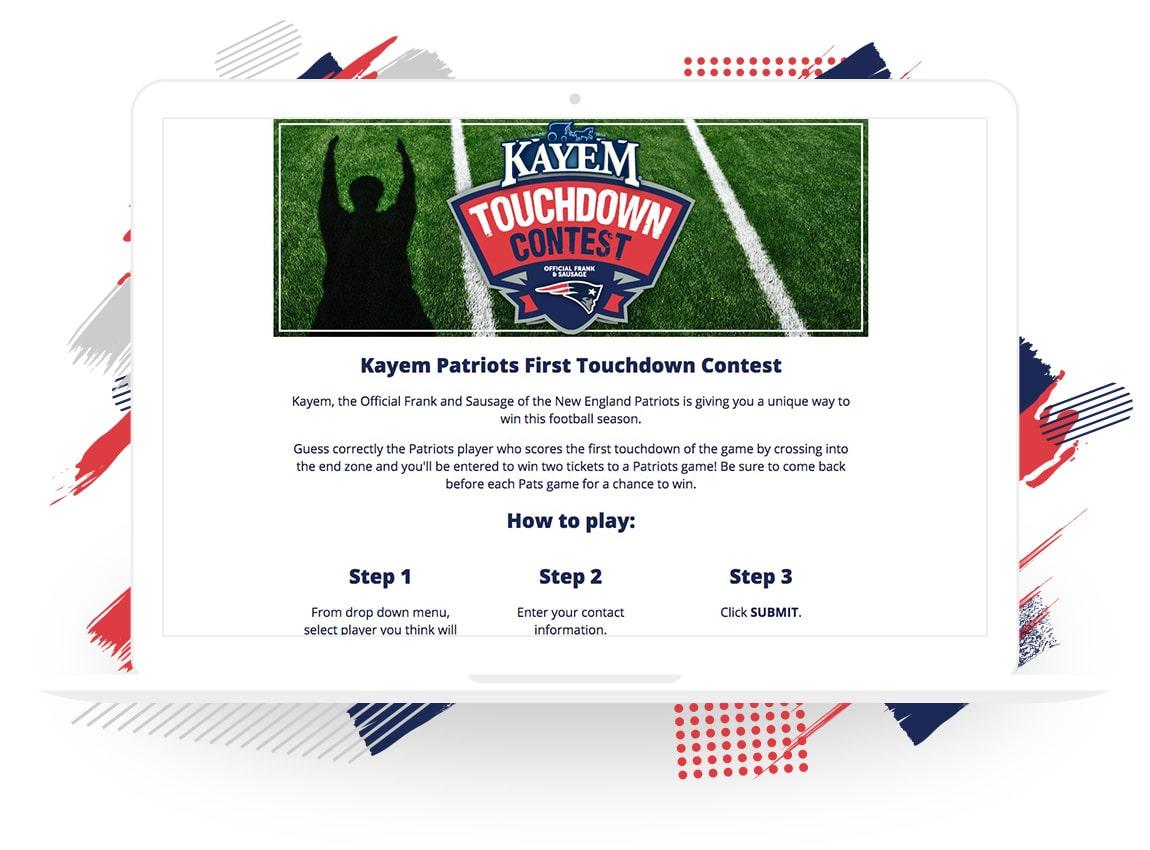 Kayem Patriots First Touchdown Contest