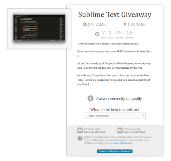 sublime text giveaway for Elements of a Successful Contest