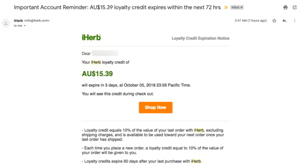 Create a long-term follow-up sequence example from iHerb offering a loyalty credit