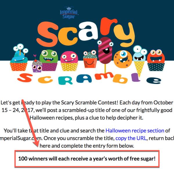 Free sugar for contest marketing