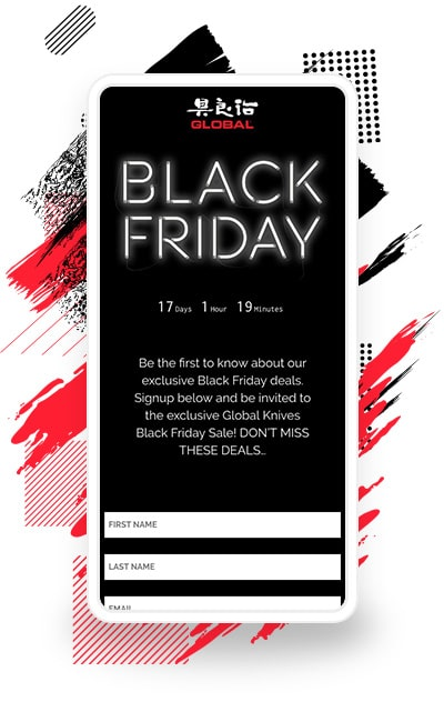 Global Knives' Black Friday Deals Landing Page