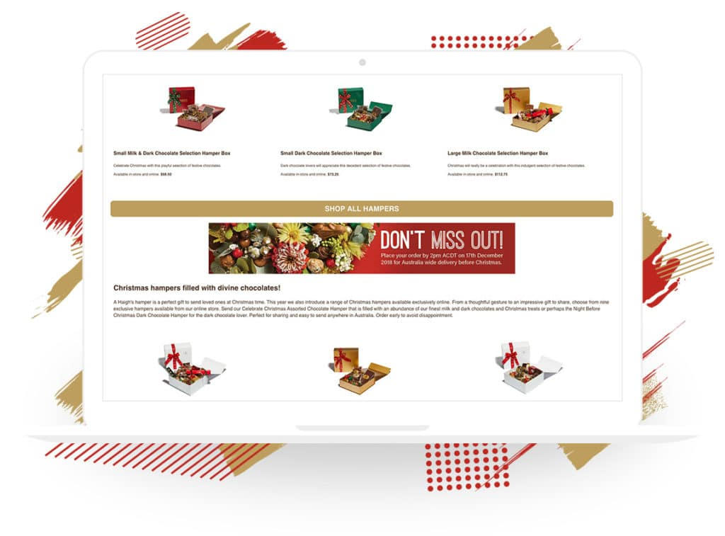 Haigh's Chocolates' Holiday Product Page