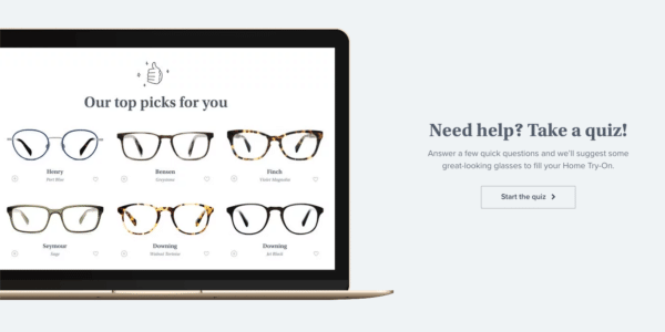 Glasses brand Warby Parker for Guide for Using Quizzes in Digital Marketing