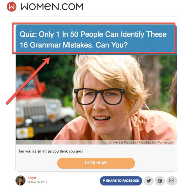 Knowledge Quiz from women.com for Guide for Using Quizzes in Digital Marketing