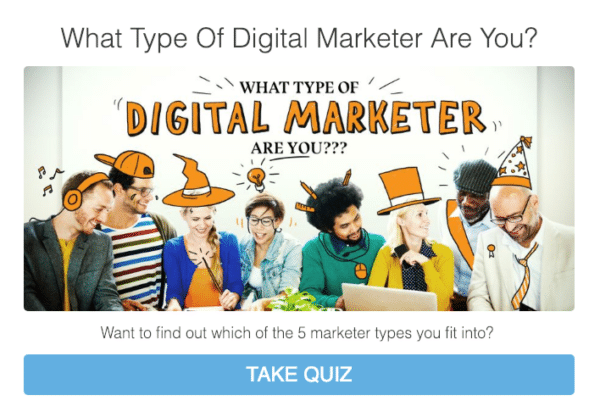 Personality Quiz with an examply form jeffbullas.com for Guide for Using Quizzes in Digital Marketing