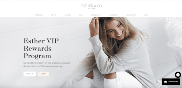 Start a loyalty program like Esther for eCommerce Promotion Ideas