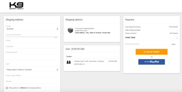 optimize the checkout process like K9 Sport sack for eCommerce Promotion Ideas