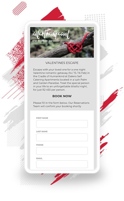 "Dalens Luxury Self Catering Apartments's ""Valentine's Escape"" Booking Special"