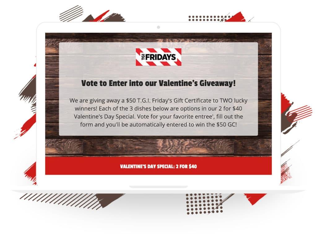 "T. G. I. Fridays's ""Vote to Enter"" Valentine's Giveaway"