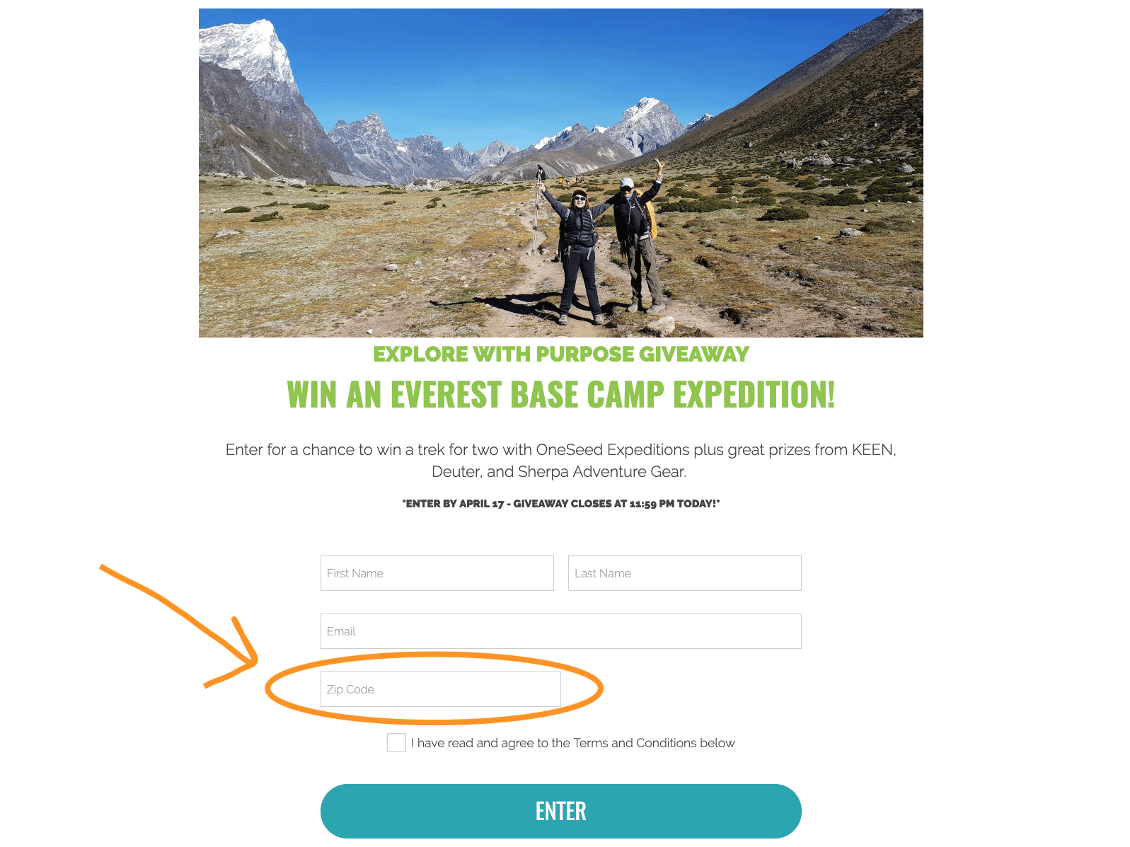 Everest Base Camp Giveaway