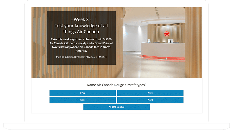 """Air Canada's """"Test Your Knowledge Of All Things Air Canada"""" Qui"""