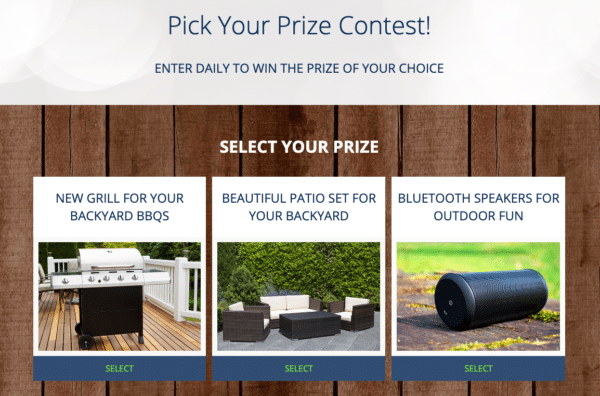 Example of Pick a Prize from Abeles and Heymann for Contest Marketing