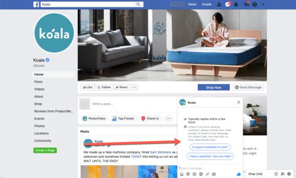 Koala for Facebook Messenger Bot for Interactive Communication