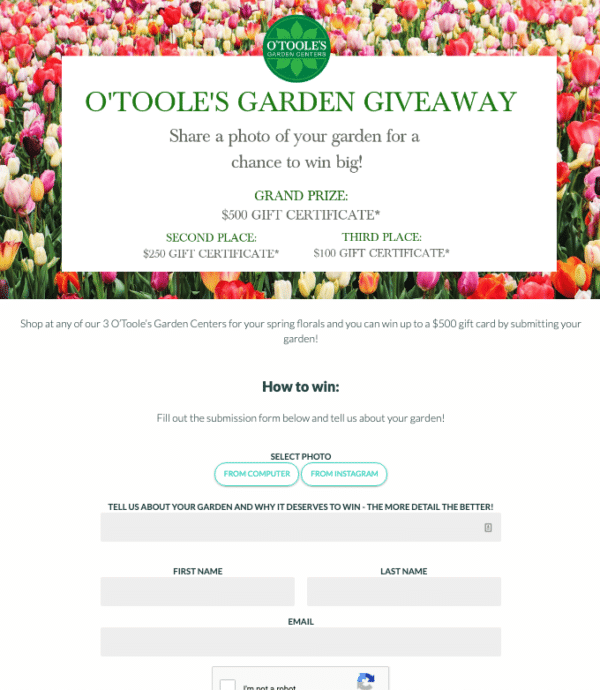Otooles garden giveaway for Profitable Social Media Contest