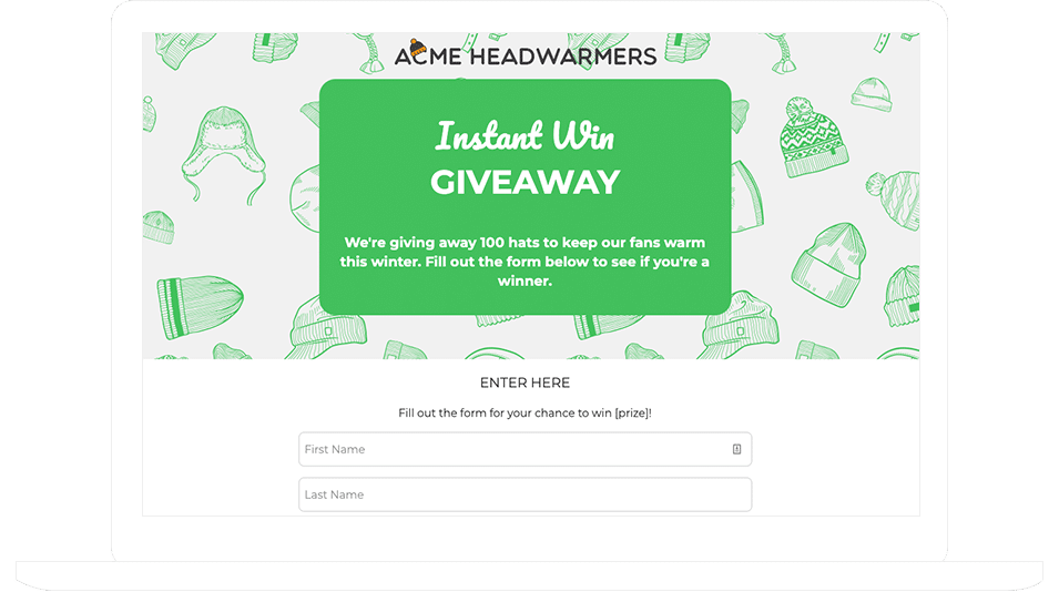Instant Win Giveaway Template