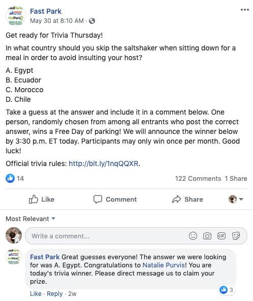 Fast Park Facebook