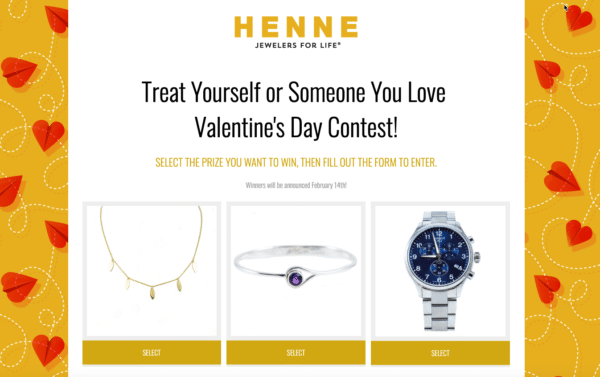 pick a prize like henne jewelers for Contest Marketing