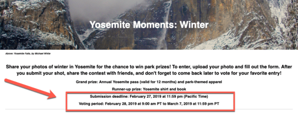 Contest from Yosemite Moments Clearly States The Deadline for Viral Contests