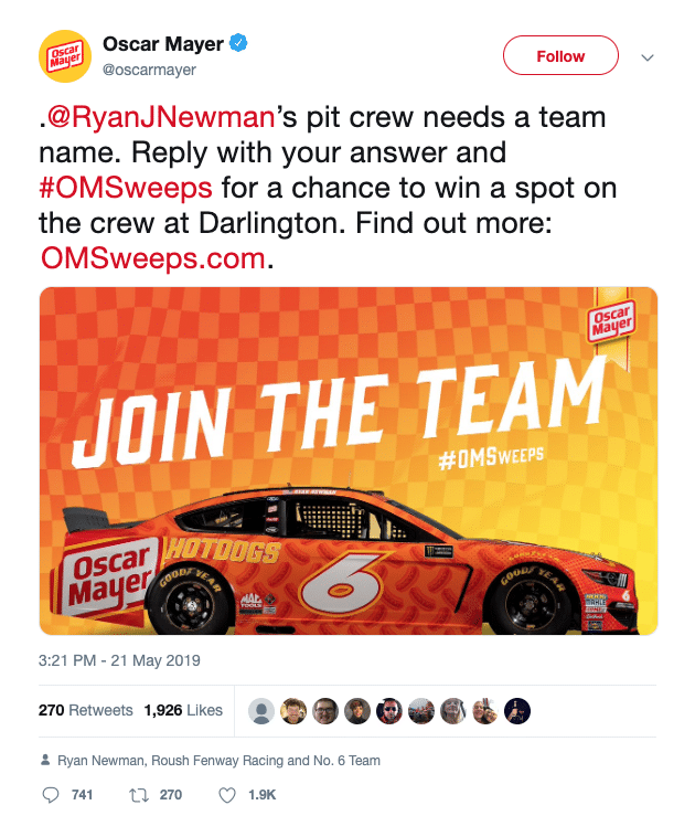 "Oscar Mayer's ""#OMSweeps"" Twitter Sweepstakes"