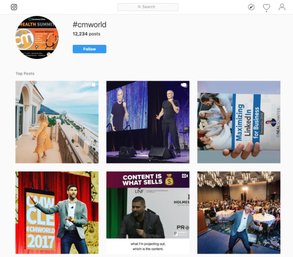 hashtag #CMWorld to promote content marketing world for Event Marketing ROI