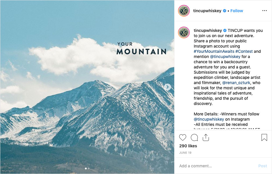 "TINCUP Whiskey's ""#YourMountainAwaits"" Contest"