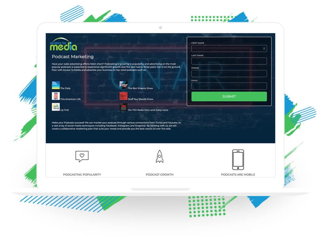 Access to Media's Podcast Marketing Landing Page