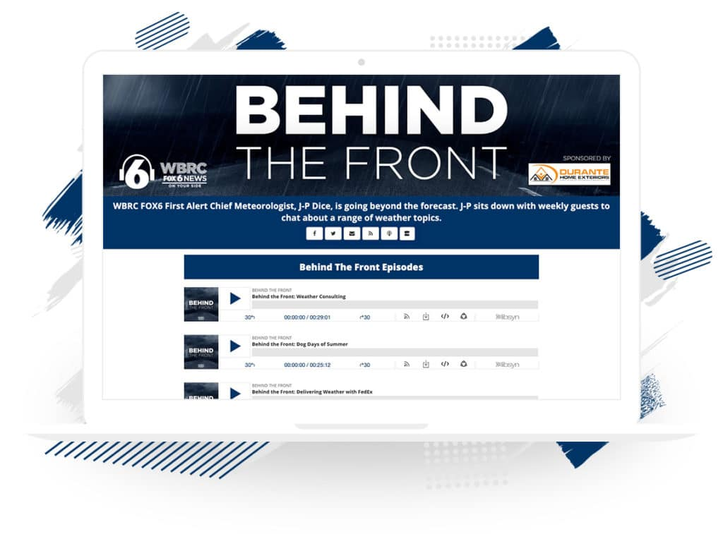 "WBRC FOX6's ""Behind the Front"" Podcast Landing Page"
