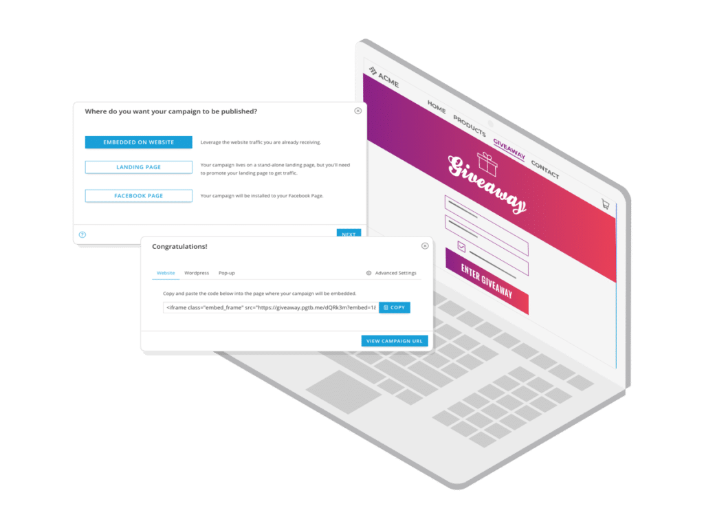Embed code to add campaigns to your website