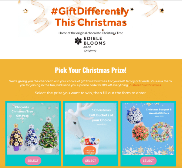 Edible Blooms Christmas Giveaway for Landing Page Design