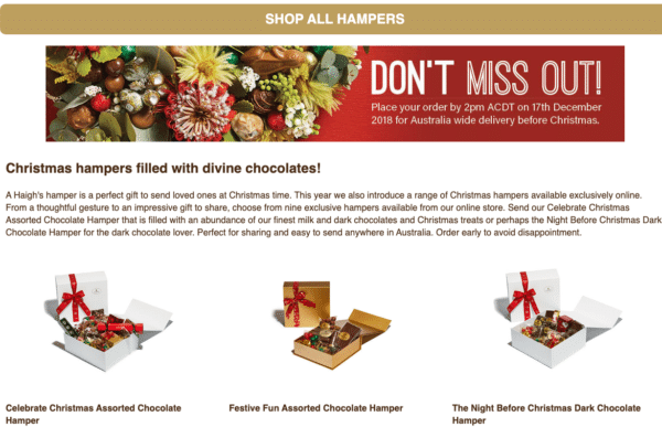 Haighs Chocolate theme for Landing Page Design