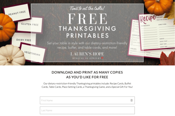 Party Supplies Free Thanksgiving Printables for Holiday Season Contest