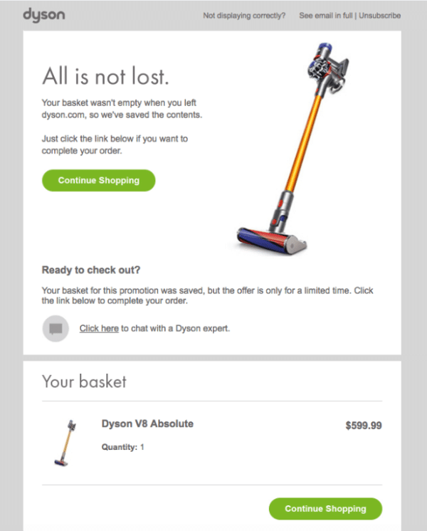 Dyson Cart Abandonment for Business Campaign Plan