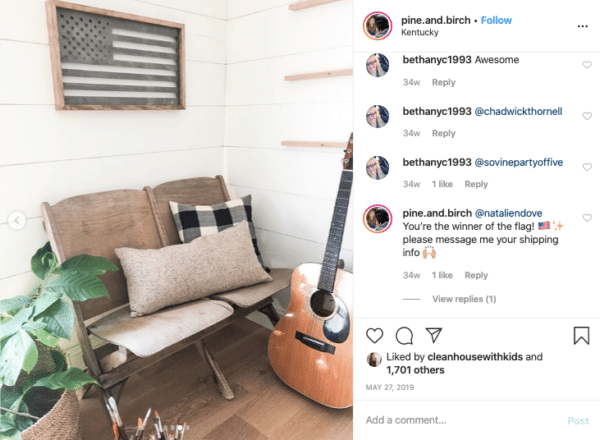Chair and Guitar with America's Flag for Memorial Day Instagram Contests
