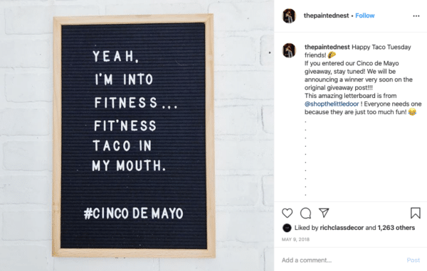 Cinco de Mayo Black Board with Brown Border for Instagram Contests