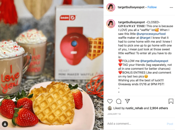 Heart Shape Waffle with Strawberry for Valentines Day Instagram Contests