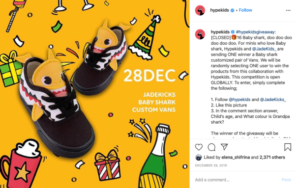 Shoes with wine and gift for Christmas Instagram Contests