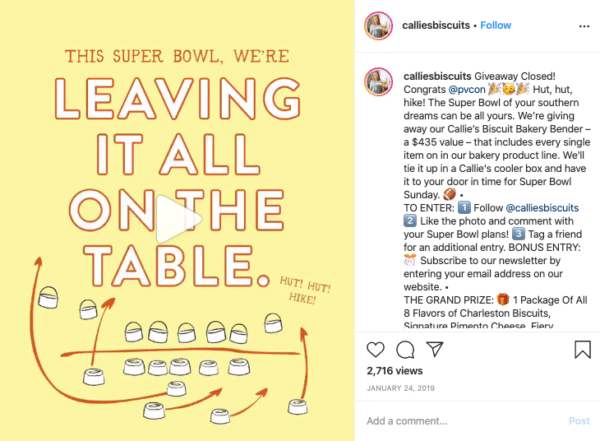 Super Bowl Instagram Contests