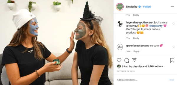 Two Girls with Hat Applying Facial Mask for Halloween Instagram Contests