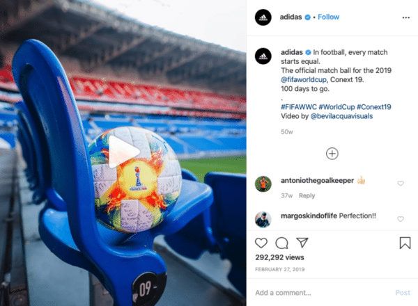 Adidas FIFA world cup 2019 instagram post football and blue chair