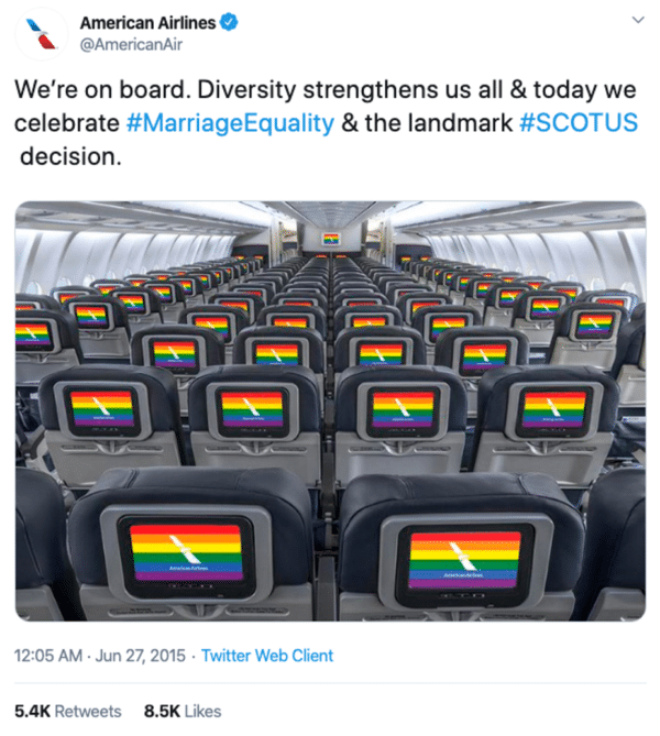 American Airlines post cabin seats in the picture for marriage equality