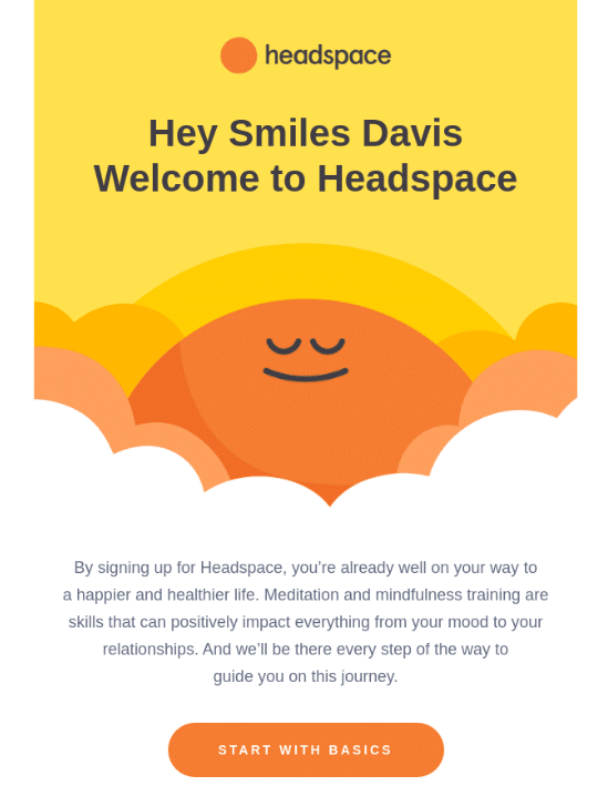 Headspace welcome Email for Contest Follow-Up