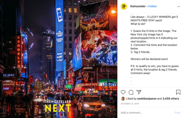 Instagram viral giveaway post The Hosteller with city night life image